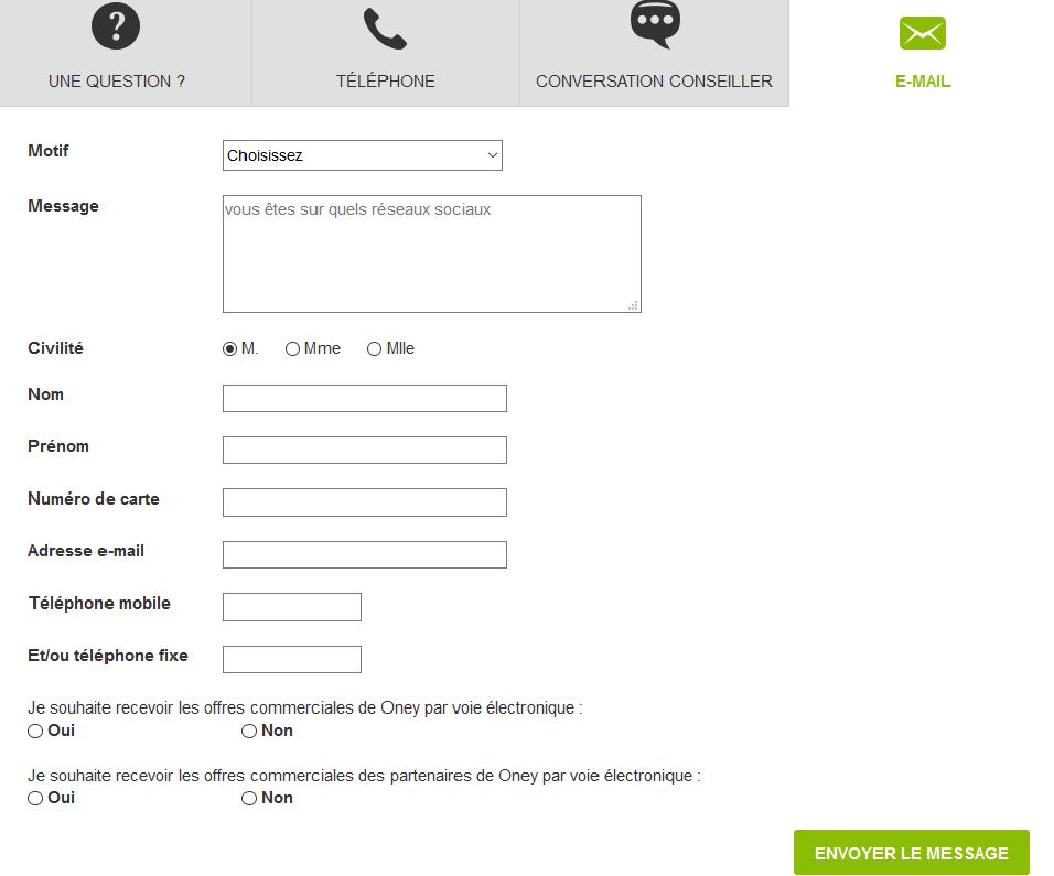 Contacter Oney par mail